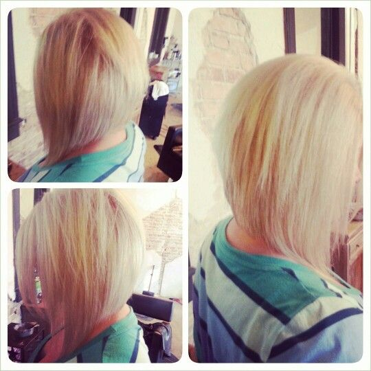 Long layered angled bob.... Think Im going to try this! *Or THIS back. A little messier than the other back, but could be even messier. Needs more texture.