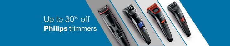 Amazon.in brings to all men an amazing offer, where you get up to 30% off on trimmers, that to from a top brand like Philips. You can pick from various types of trimmers such as nose trimmer, beard trimmer, advanced trimmer, multi grooming kit and lot more. So without delaying anymore, just hurry and avail ...