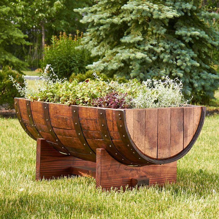 Best 25 wine barrel planter ideas on pinterest solar for Diy wine barrel planter
