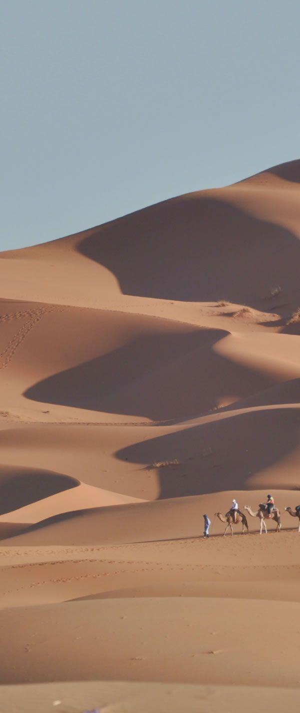 広大なサハラ砂漠の中でも朝日・夕日の陰影と砂の色がひときわ美しいと言われるシェビ大砂丘。Erg Chebbi