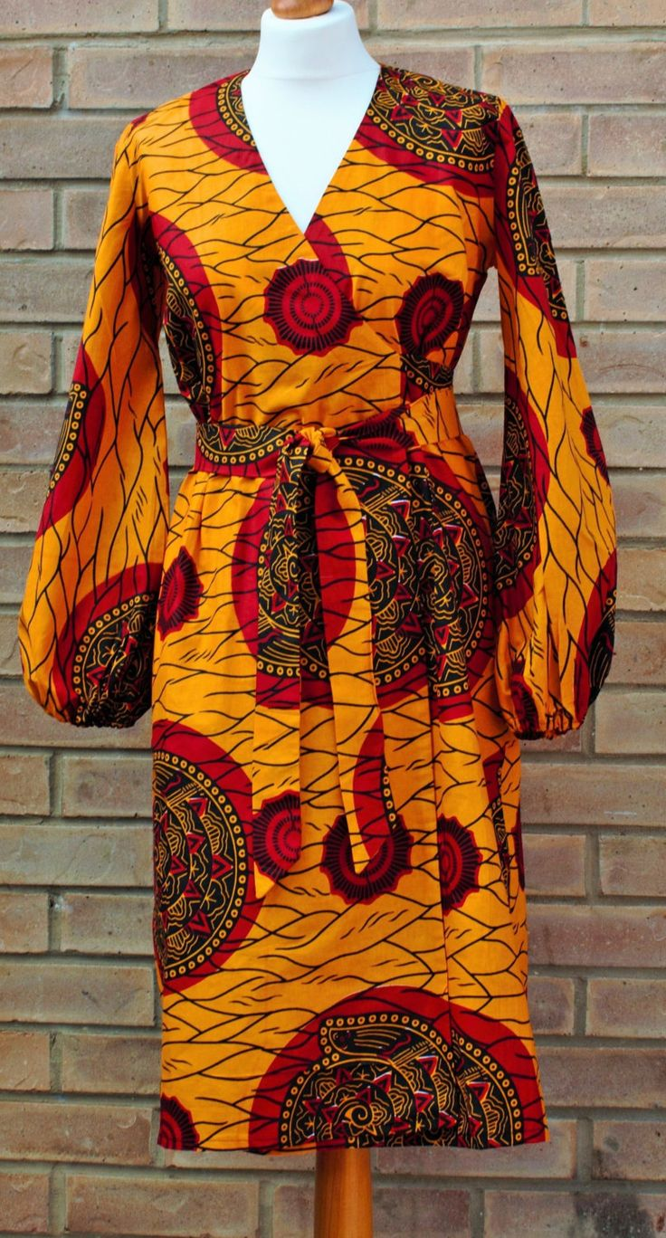 African print dress, African print wrap dress by AbrefiFashion on Etsy https://www.etsy.com/listing/224341164/african-print-dress-african-print-wrap