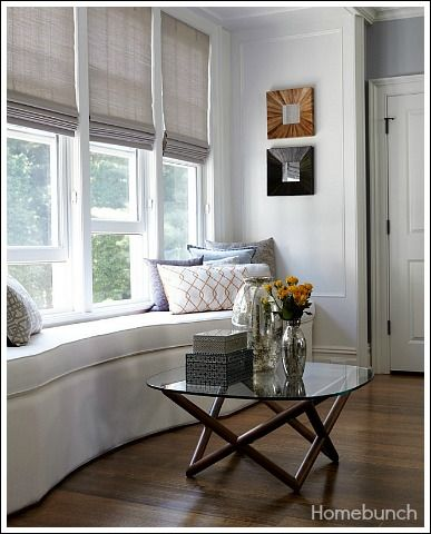 Long, curved window seat. Modern Window Treatments - Do you need some inspirational ideas for your home?