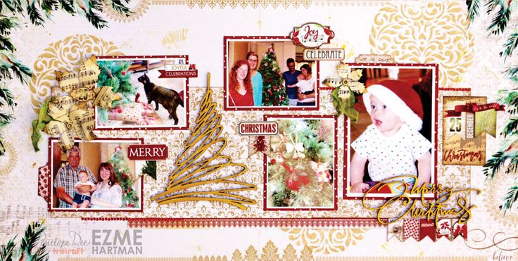 Double-page Christmas layout with the Glad Tidings Collection.