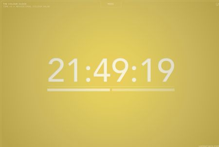 The Colour Clock es un reloj en Flash cuyo color de fondo varía con valores hexadecimales. Puedes verlo online o descargártelo como protector de pantalla para Mac, Windows y Android.