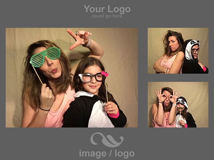 PG Booth, the best diy ipad photo booth app for parties and weddings, photo strip example with logo / image location examples