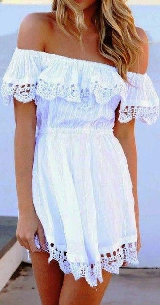 dress lace dress boho boho dress white dress white bohemian bohemian dress crochet saboskirt summer dress off shoulder off the shoulder dress bag