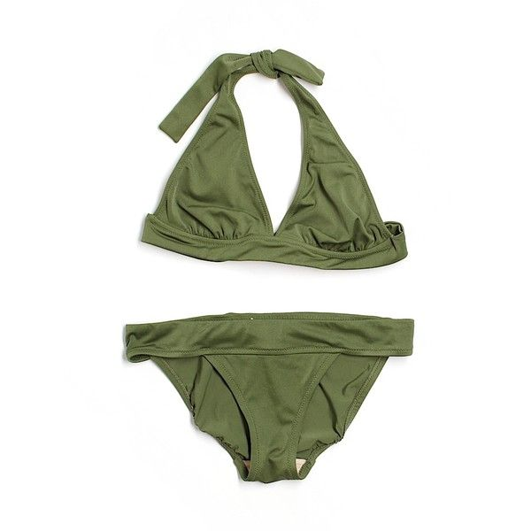 Pre-owned J. Crew Two Piece Swimsuit Size 4: Dark Green Women's... ($26) ❤ liked on Polyvore featuring swimwear, bikinis, dark green, two piece bikini, two piece bathing suits, bathing suits two piece, 2 piece bikini and j crew swimsuits