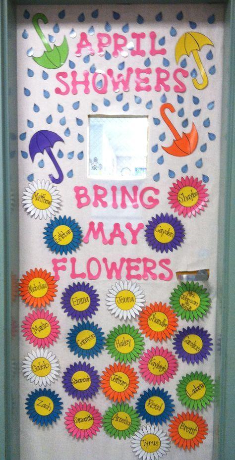 Spring Classroom Decorations ~ Our classroom door april may decor time bulletin