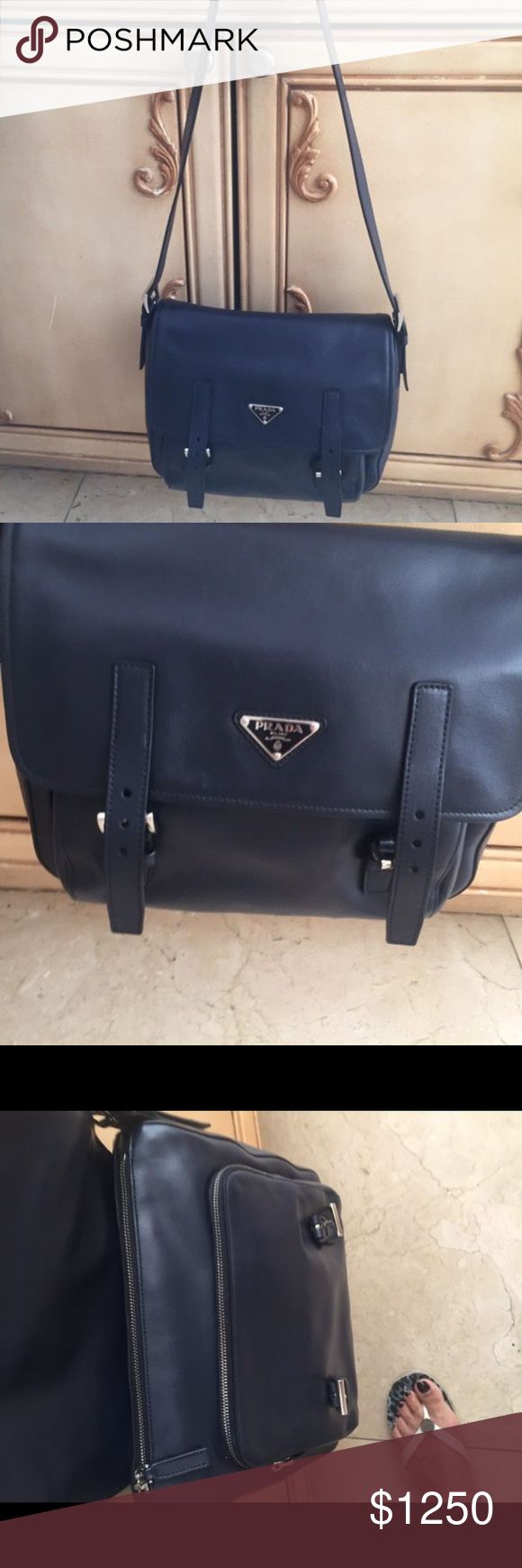 Prada Cross body Satchel Purse Brand new navy Prada cross body satchel purse with zipper and buckle flap. Brand new, never been worn, excellent condition. Comes with dust bag. Prada Bags Crossbody Bags
