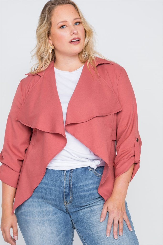 Womens Solid Loose Fit Open Front Draped Neck Short Sleeve Plus Size Jacket//Made in USA