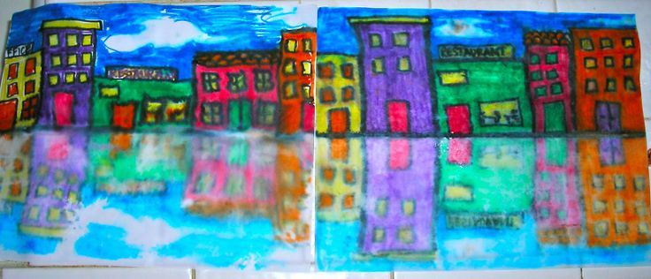 Reflections! Draw a set of building in markers, spray bottom half of paper, fold paper so that the half you drew on is facing UP (NOT folded inside so that its directly touching the water), then give it a light rub and, voila! Reflections. Grades 1-3