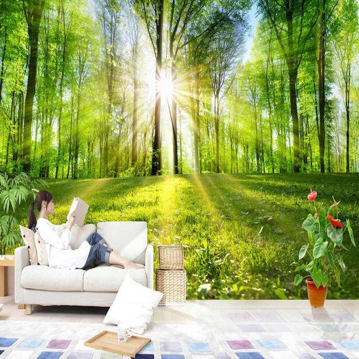 bedroom covering nature landscape living mural sunshine backdrop sofa forest murales aliexpress