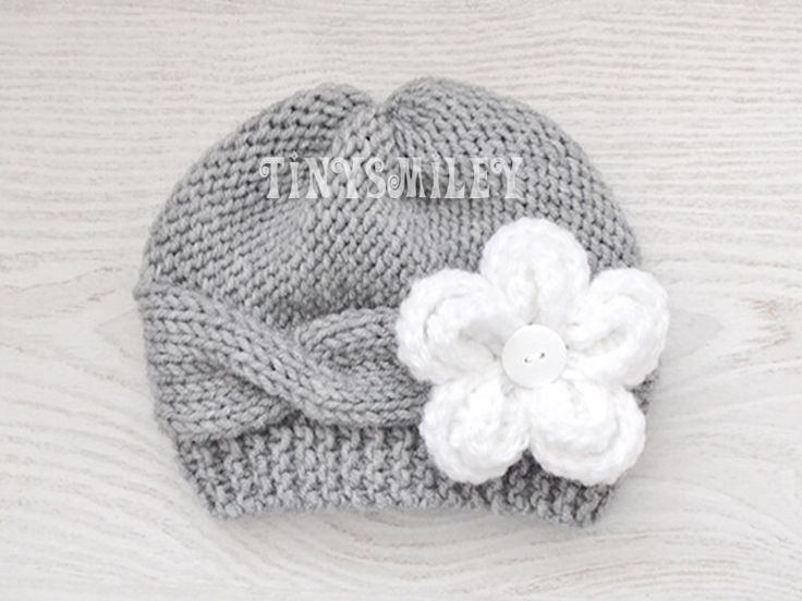 Knit Baby Girl Hat, Cable Knit Baby Hat, Removable Flower, Gray Knit Baby Girl…
