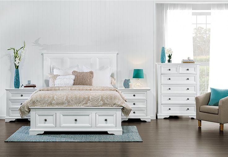 Quebec 4 Piece Tall Chest Queen Bedroom Suite | Super Amart