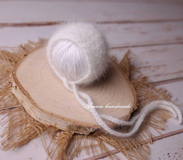 Newborn angora bonnet - French angora bonnet - Crochet newborn bonnet - beautifful newborn photo prop - cruelty free angora - made to order by Amaiahandmade on Etsy