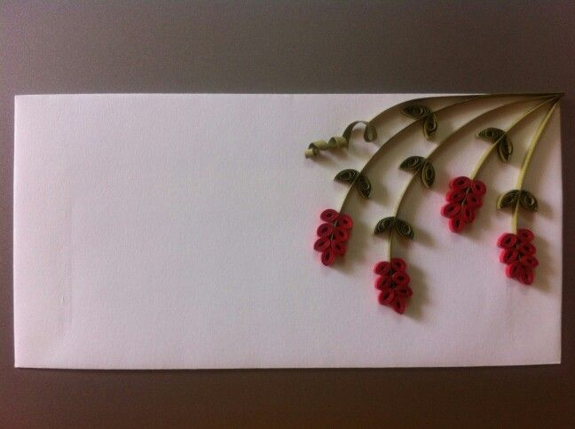 Quilled flowers on an envelope