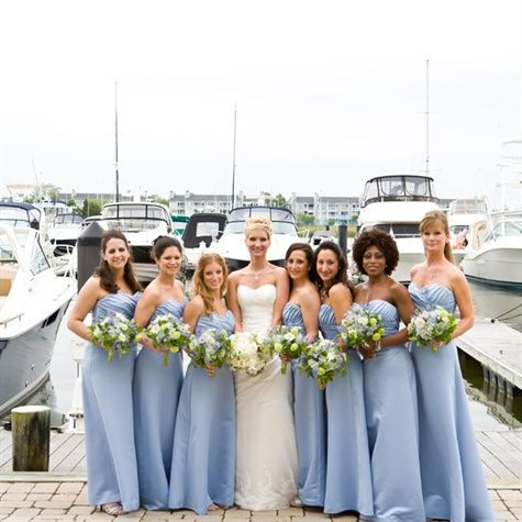 Cornflower Blue Bridesmaid Dresses   The green color of the bouquets pop off of the blue dresses