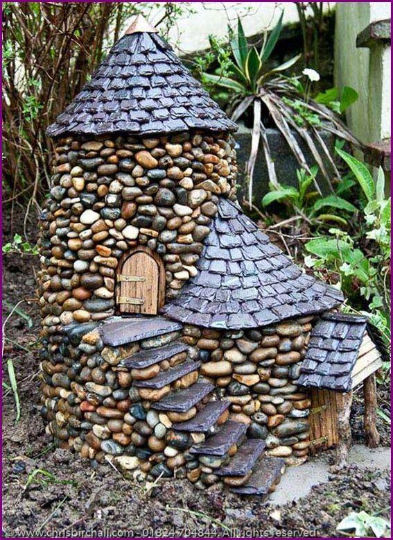 DIY Mini Garden Stone Fairy House Idea