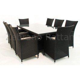 Rattan Garden Furniture-Cadiz All Weather Rattan dining set rectangular 8 Chairs - Brown