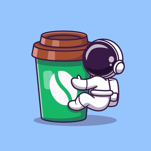 Download Cute Astronaut With Coffee Cup Cartoon Vector