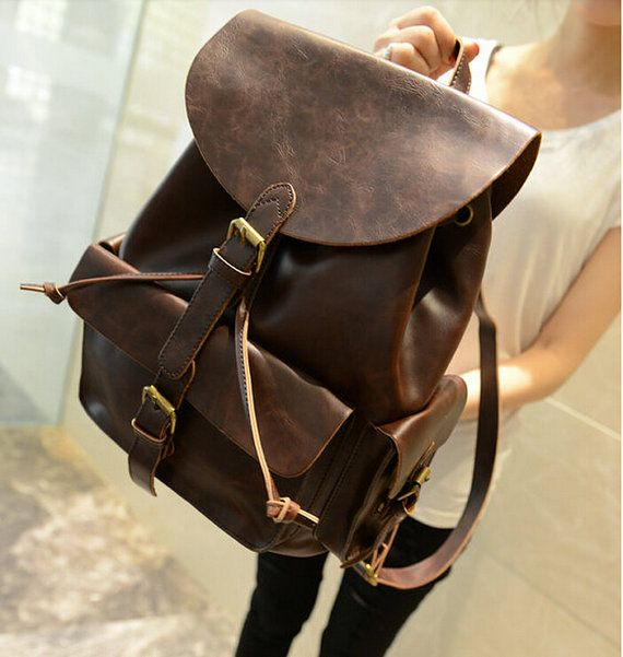 Retro men/women Leather Backpack College backpacks by Adamshops, $45.99