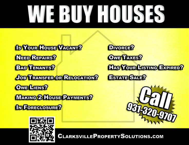 We buy houses advertisement clarksville property solutions llc pinterest buy house we and - Tips for a successful apartment investment ...