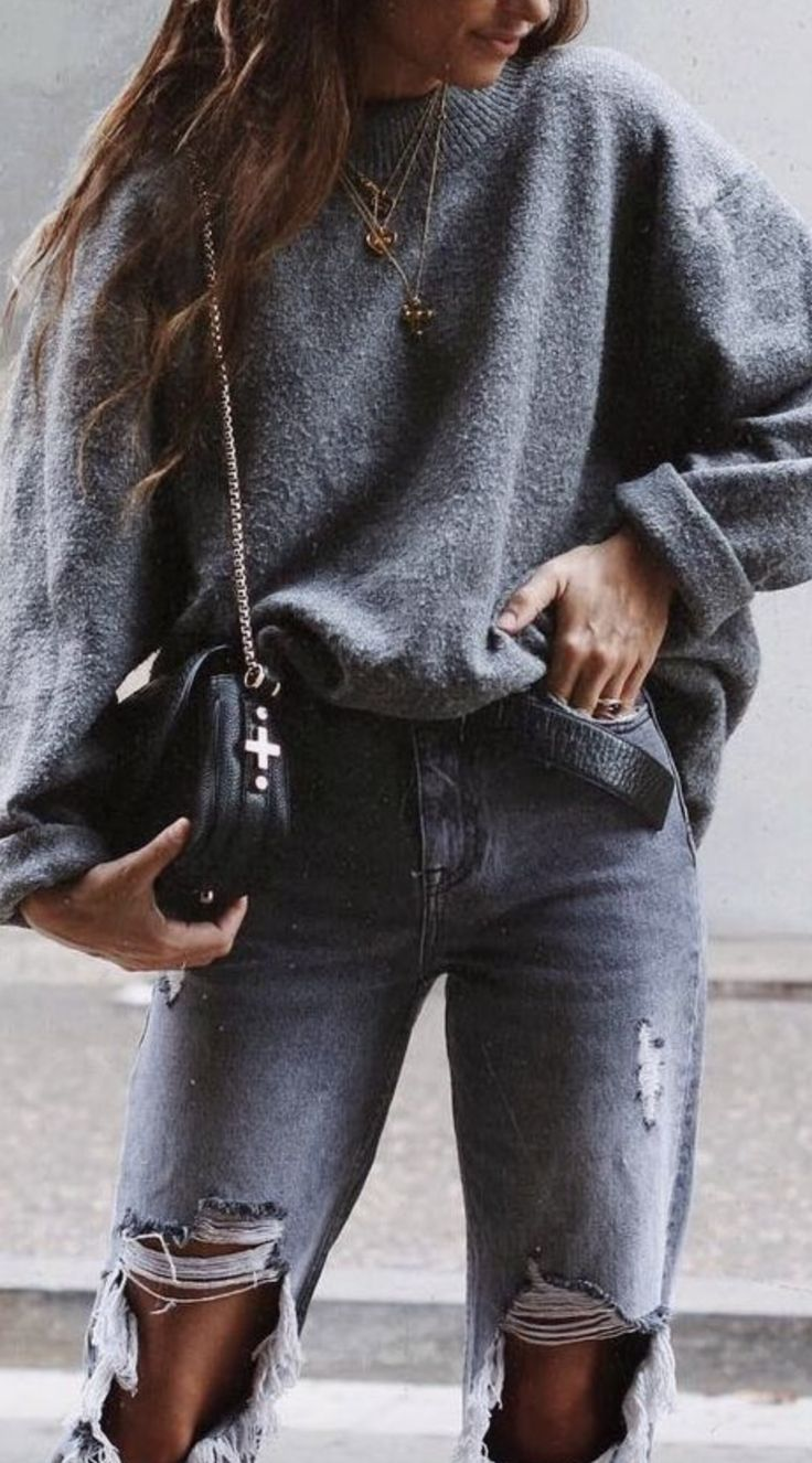Oversized sweater + distressed jeans