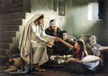 Jesus und die Tochter des Jairus. Durch das Priestertum und seine Macht erweckte Jesus sie von den Toten.