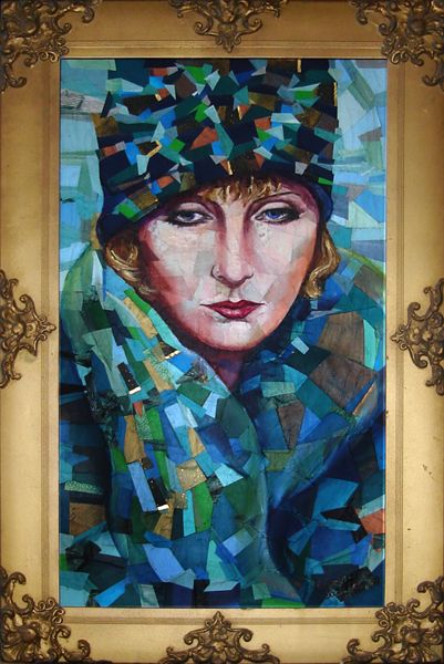 Collage portrait of Dominique Francon, (a character from Ayn Rand's The Fountainhead), inspired by a photo of Greta Garbo. Painted in blue-green colors. Created by recycling a variety of paper products.