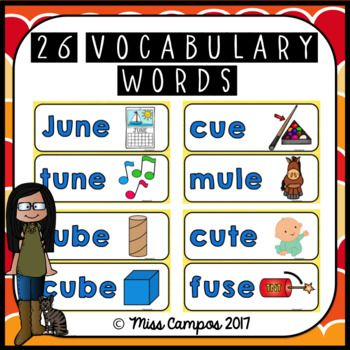 Long Vowels Long U Magic  CVCe Words worksheets and vocabulary cards