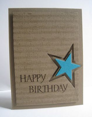 handmade card from I'm in Haven  ... birthday .... music score background ... kraft ... star cut out and slightly smaller one put in ... clean and simple ....