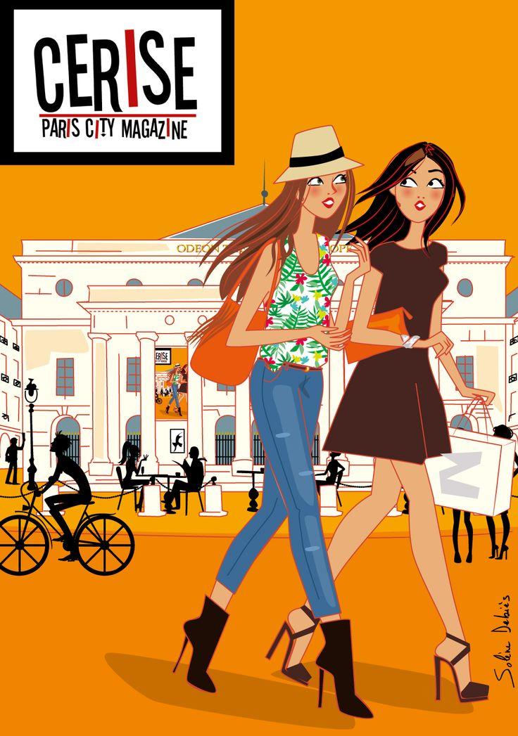 2 femmes à Paris devant l'Odéon, couverture du magazine Cerise