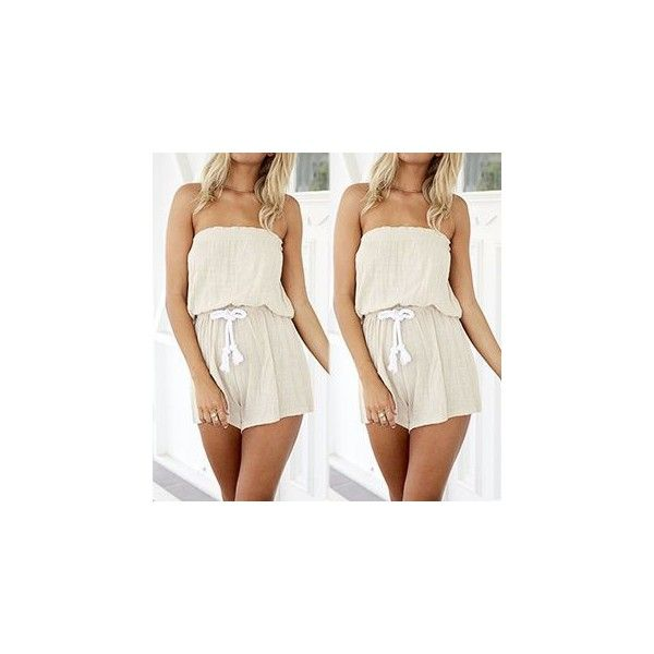 Strapless Playsuit ($18) ❤ liked on Polyvore featuring jumpsuits, rompers, playsuit, women, playsuit romper, cotton romper, white romper, white strapless romper and white rompers