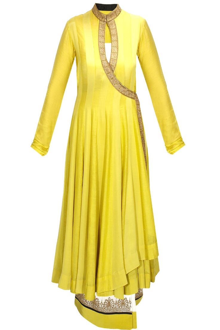 Olive panelled wrap anarkali with ivory embroidered lungi available only at Pernia's Pop-Up Shop.