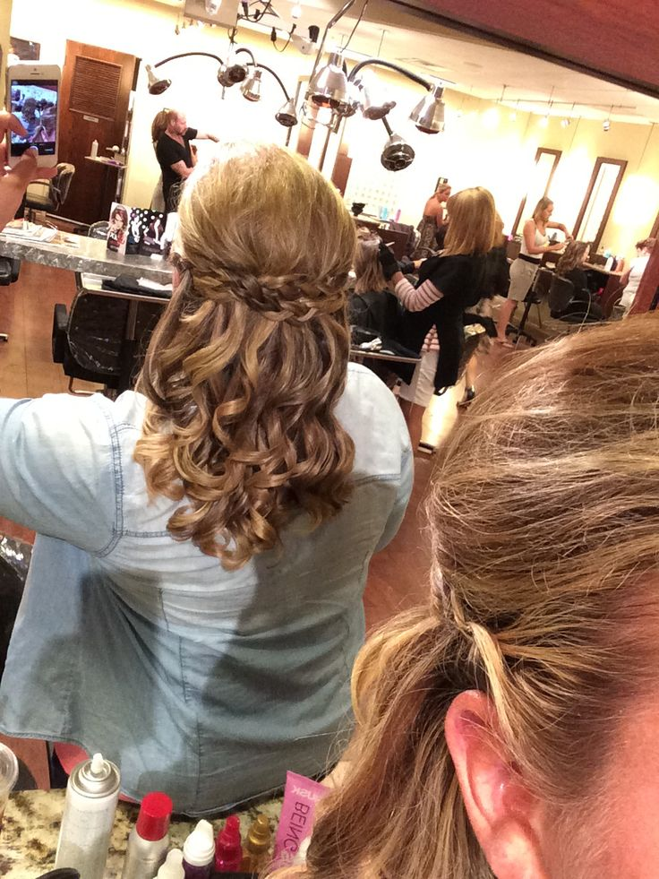 Half up half down braided hair for my cousins wedding!  #bridesmaidhair #halfuphalf down #braidedupdo #curls #medium hair