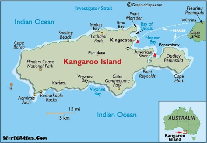 Kangaroo Island is Australia's third largest island - after Tasmania and Melville Island. Description from worldatlas.com. I searched for this on bing.com/images