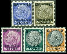 """1938-39: the first stamps, for what would be the Generalgouvernment of Poland, were issued, beginning December 1, 1939. These stamps were overprinted """"Deutsche Post / OSTEN"""", which literally means """"Eastern German Mail"""". Up until the Spring of 1940, the use of the regular postage stamps of the Third Reich was also tolerated in the new territory."""