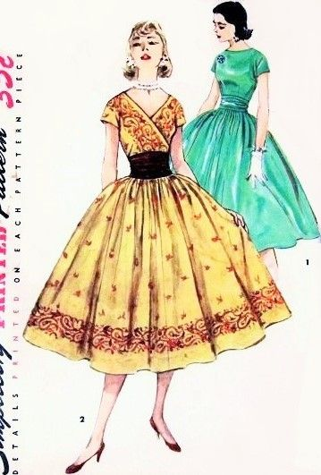 1950s Beautiful Party Cocktail Dress Pattern Surplice V or Bateau Neckline Versions, Nip In Waist Cummerbund Full Bouffant Skirt Suitable For Border Fabrics Simplicity 1541 Vintage Sewing Pattern Bust 30