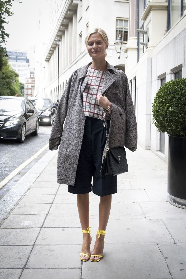 Checked tops and culotte trousers at London Fashion Week.