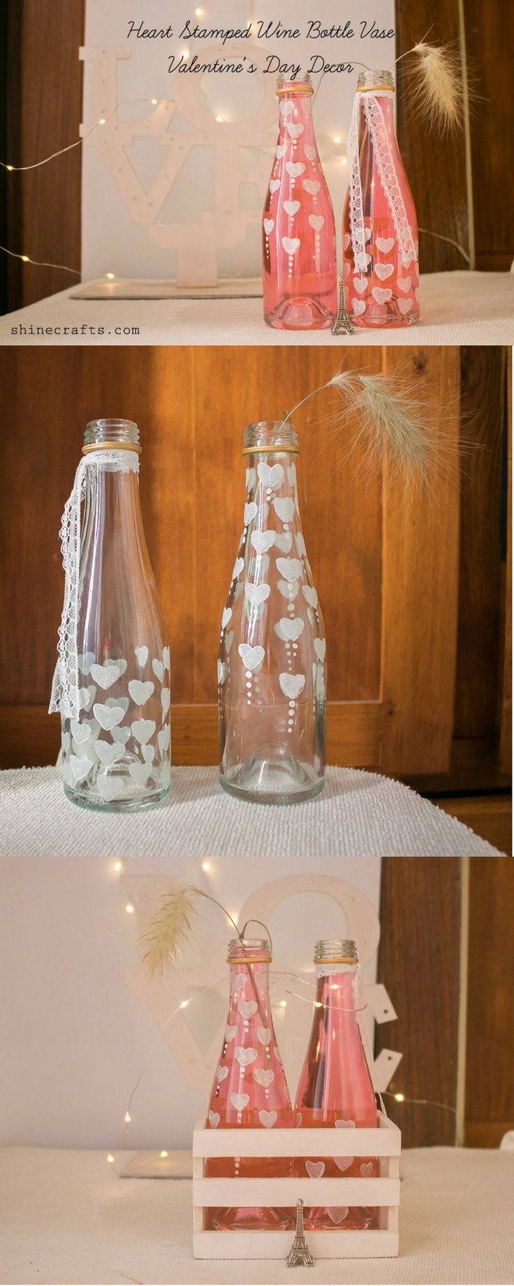 How To Make Wine Bottle Vase for Valentine's Day  #valentinesday #winebottle # vase #diy
