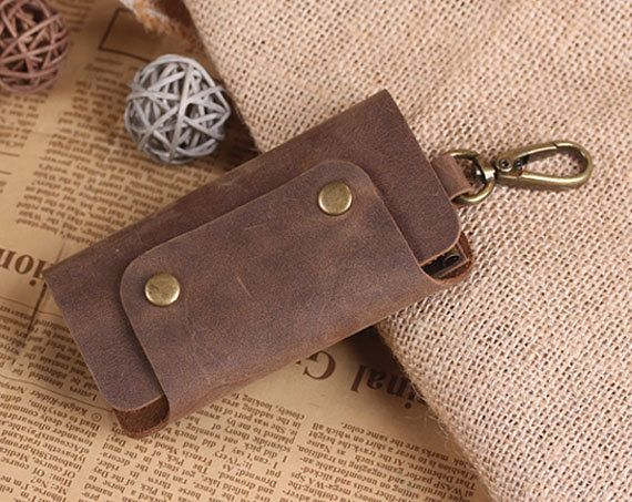 Hand Crafted Leather Key Holder - Leather Key Case - Vintage Leather Keychain Holds - Convenient Key Holder by aimeehandmade on Etsy https://www.etsy.com/listing/255457291/hand-crafted-leather-key-holder-leather