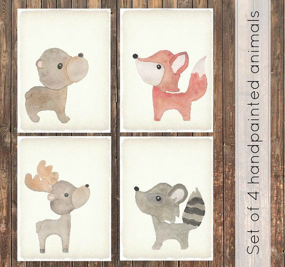 Set of 4 woodland animals watercolor canvas. Modern baby, rustic nursery, woodland nursery, watercolor prints, baby shower, nursery decor