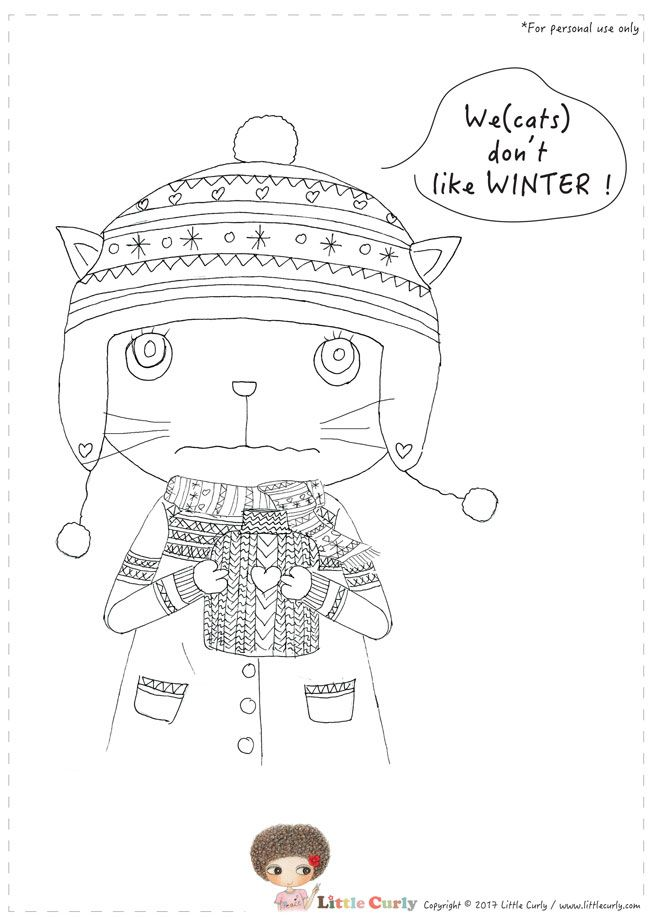 Little Curly's colouring pages - cats don't like WINTER!