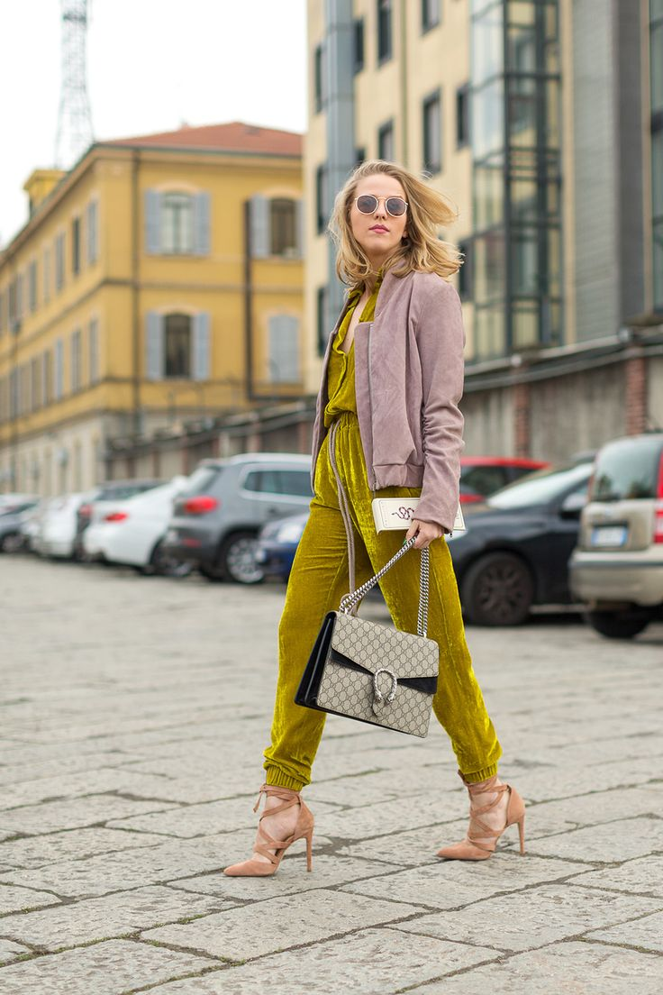 Ciao Milano: Street Style from Italy - crushed velvet jumpsuit with peachy heels and a mauve suede jacket. this look slays.