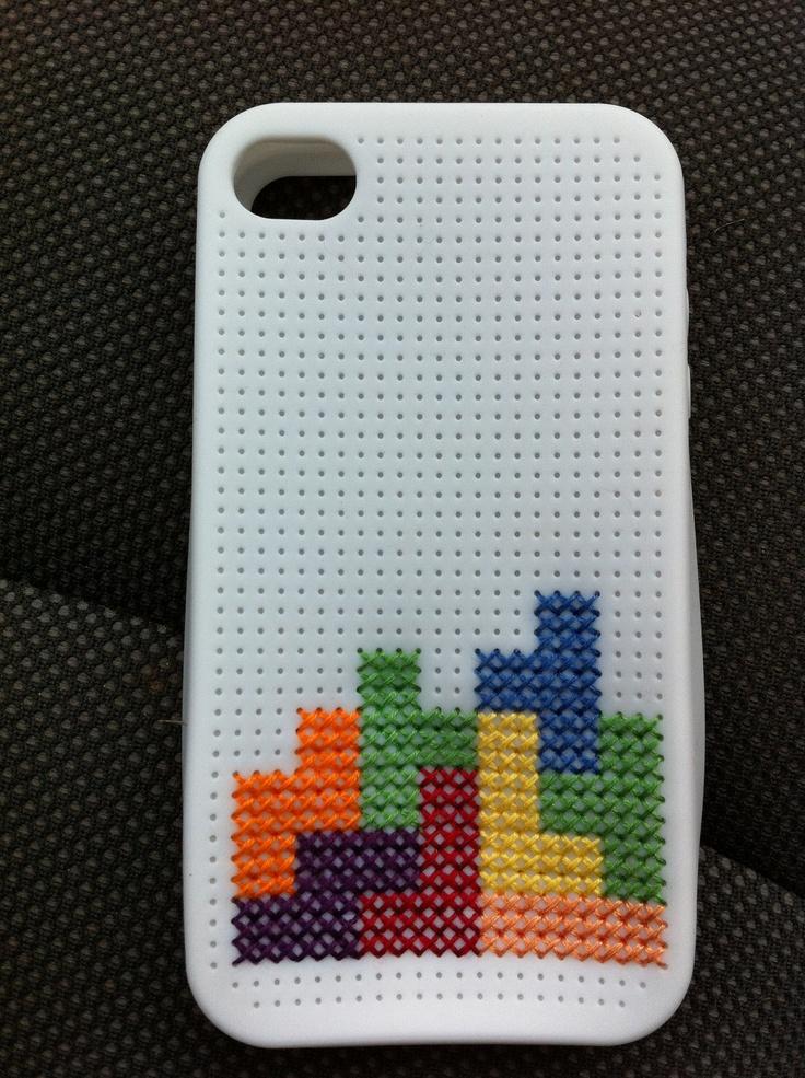 """""""Tetris"""" Cross Stitch iPhone 4 case"""