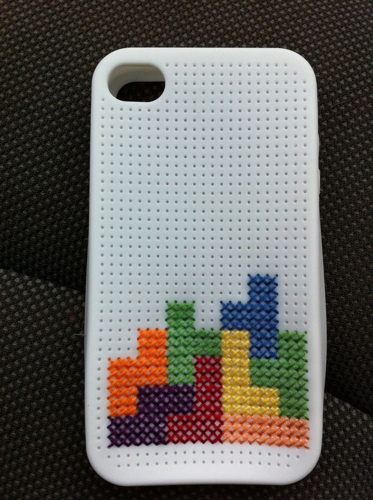 """Tetris"" Cross Stitch iPhone 4 case"