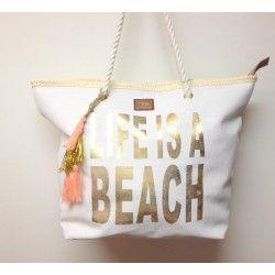 Borsa spiaggia mare in tessuto con scritta LIFE IS A BEACH dorata, manico in corda e nappina corallo