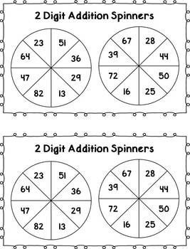 Here is a fun math center activity where students will practice writing and solving two addition addition problems with and without regrouping.Students simply spin a two digit number from the 1st spinner, and a two digit number from the second spinner, write the numbers on the sheet and solve the equation!Included in this download:- 2 digit addition spinners- 2 different recording sheetsFun, simple, and hands-on way to practice an important math skill!