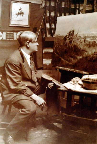 "Charles M. Russell, (Mar 19, 1864 - Oct 24, 1926), working on ""Salute to the Robe Trade""....The Salute of the Robe Trade -  Russell settled permanently in the west (Montana) and wholeheartedly embraced everything life there had to offer. He was a ""real"" cowboy, lived with a mountain man and was an adopted brother of the Blackfoot tribe. His oils, watercolors and bronzes reflect an intimate knowledge of his subjects, and no one was more surprised than he when they began fetching high prices."