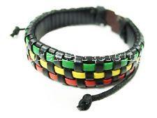 Stylish Reggae Marley Rasta Tribal Braided Hemp Brown Leather Bracelet 889